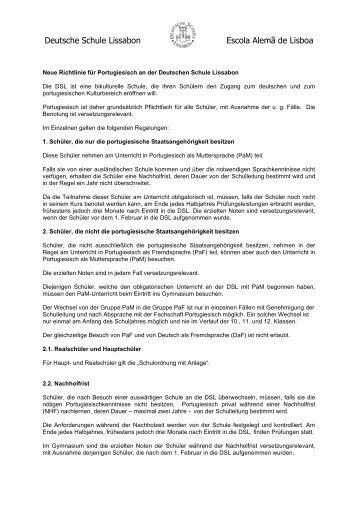 Zur Richtlinie für Portugiesisch - Deutsche Schule Lissabon