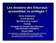 Les dossiers des tribunaux: accessibles ou protégés ? - Ccat-ctac.org