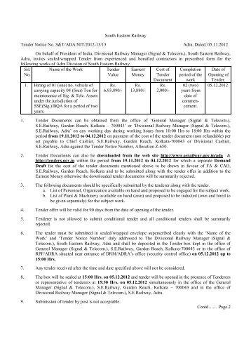 South eastern railway chakradharpur tenders dating. South eastern railway chakradharpur tenders dating.