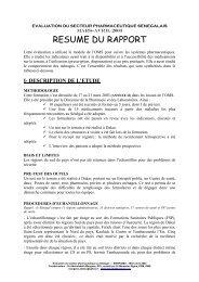 Sénégal, évolution du secteur pharmaceutique - ReMeD