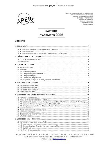 RAPPORT D'ACTIVITES 2006 Contenu - APERe