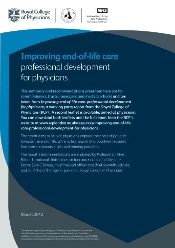End-of-life care: leaflet for managers - Royal College of Physicians