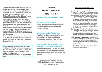 Flyer mit Programm und Anmeldung - Schule + Essen = Note 1
