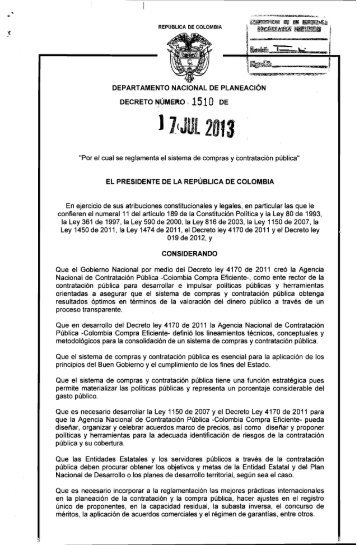 Decreto 1510 de 2013 - Colombia Compra