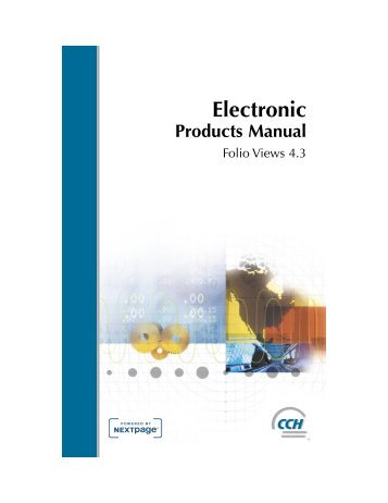 Electronic Products Manual - CCH Canadian
