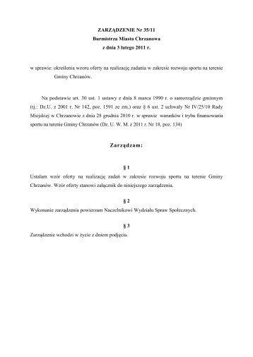 Zarządzenie Nr 35/11 Burmistrza Miasta Chrzanowa z ... - Chrzanów
