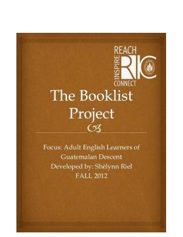 Guatemalan Booklist by Shelynn Riel for Adult Learners.pdf - RITELL