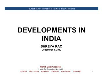 Nishith Desai Associates - Foundation for International Taxation