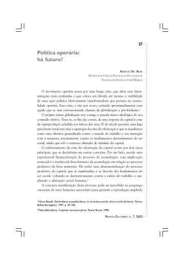 Política operária: há futuro? Marcos Del Roio - Revista Outubro
