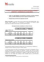 49,3 MILLIONS D'EUROS DE CHIFFRE D'AFFAIRES AU ... - Hi-Media