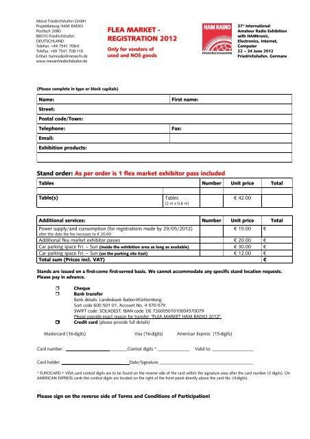 HAM RADIO 2012 | Flea Market Registration - International