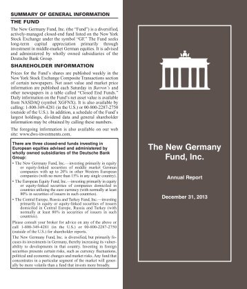 Annual Report - The New Germany Fund, Inc. - DWS Investments