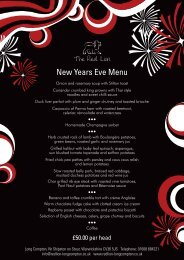 New Years Eve Menu - The Red Lion, Long Compton