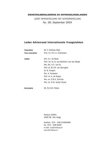39 AIV - Adviesraad Internationale Vraagstukken
