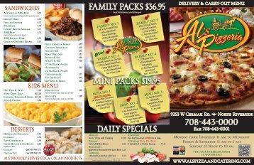 FaMily PaCKs $36.95 Mini PaCKs $19.95 daily ... - Dine Here US