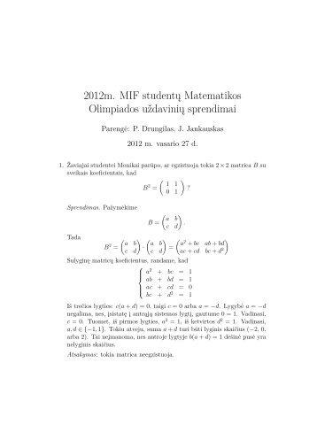 2012m. MIF studentų Matematikos Olimpiados uždavinių sprendimai