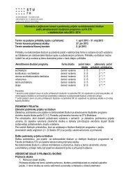 Informácie o prijímacom konaní pre akad. rok 2013/2014 - Fakulta ...