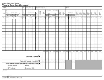 PS Form 3921, Volume Recording Worksheet - branch 38