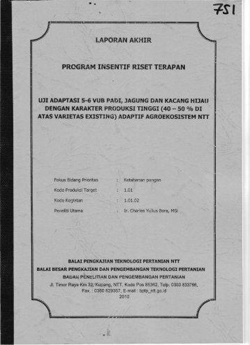 PROGRAM INSENTIF RlSET TERAPAN - KM Ristek