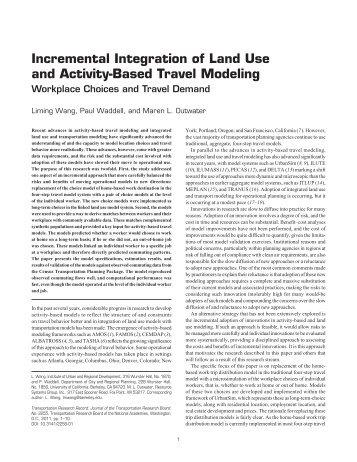 Incremental Integration of Land Use and Activity-Based ... - UrbanSim