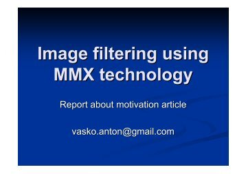 Image filtering using MMX technology