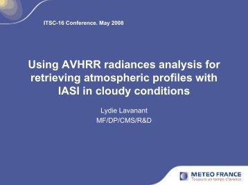 Using AVHRR radiances analysis for retrieving atmospheric profiles ...