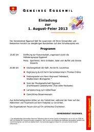 Einladung zur Bundesfeier Eggenwil 2013