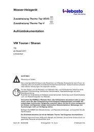 Wasser-Heizgerät Aufrüstdokumentation VW Touran ... - Ersatzteilbox