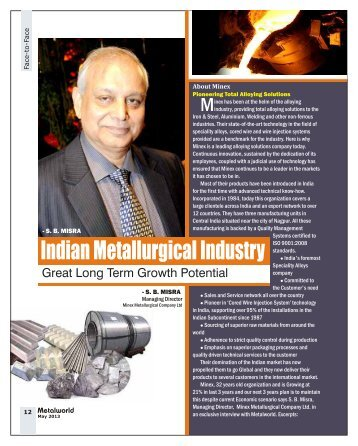 Indian Metallurgical Industry Great Long Term.. - Metalworld.co.in