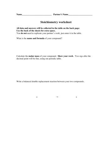 Stoichiometry Problems Worksheet