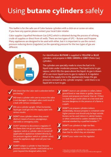 Using butane cylinders safely - Calor Gas