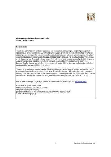 GeoImpuls projectplan Geocommunicatie Versie 31-1 ... - Geotechniek