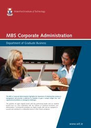 MBS Corporate Administration - Waterford Institute of Technology