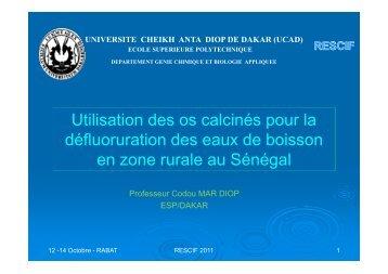 Utilisation des os calcinés pour la défluoruration des eaux de ...