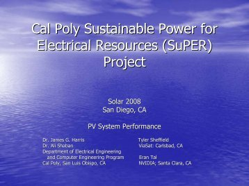 Cal Poly Sustainable Power for Electrical Resources (SuPER) Project