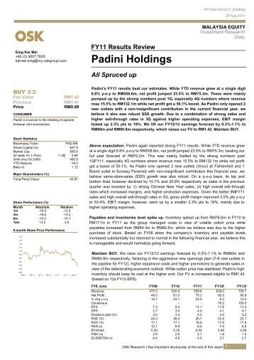 Padini Holdings Berhad CAN BE A Malaysia Based Investment Marketing Essay