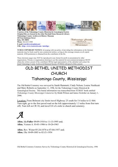 OLD BETHEL UNITED METHODIST CHURCH Tishomingo County ...