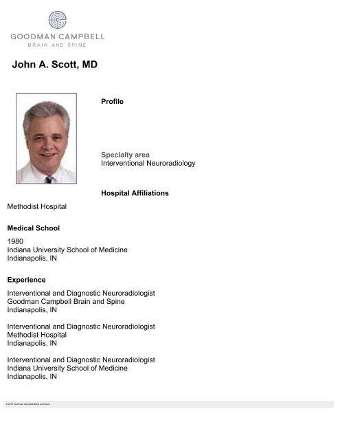 John A  Scott, MD - Goodman Campbell Brain and Spine