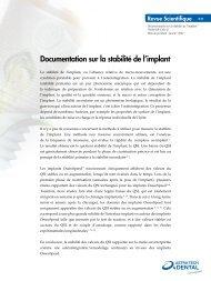 Documentation sur la stabilité de l'implant - Astra Tech