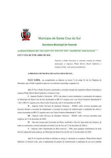 Lei Complementar nº 5.914 - Prefeitura de Santa Cruz do Sul