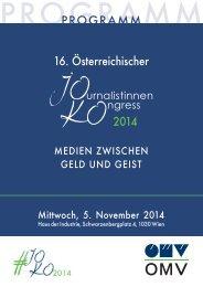 PROGRAMM 16. Österreichischer Journalistinnenkongress 2014