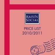 PRICE LIST - Raisin Social