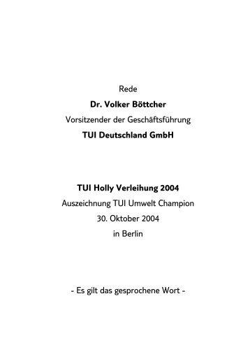 Rede Dr. Volker Böttcher Vorsitzender der Geschäftsführung TUI ...