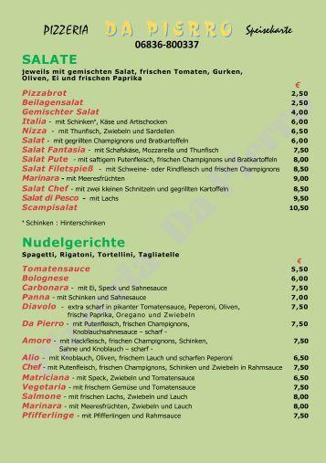 PIZZERIA Speisekarte SALATE Nudelgerichte - saarspezial.de