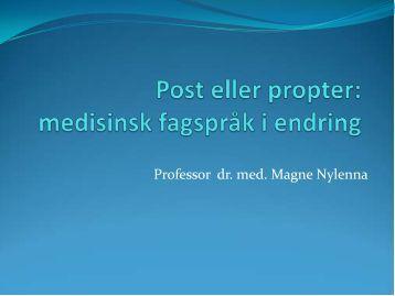 Post eller propter: medisinsk fagspråk i endring