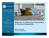 Methods for Reducing Vulnerability in Records Disposition.