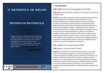 Cronograma VI Matemática em Diálogo - Departamento de ...