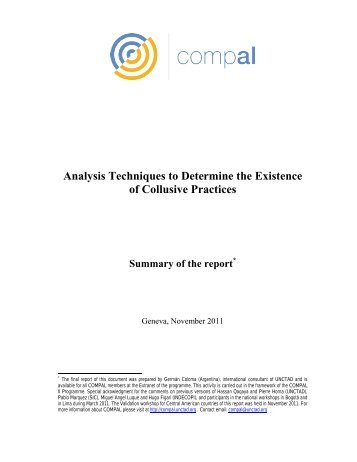 Analysis Techniques to Determine the Existence of ... - Unctad XI