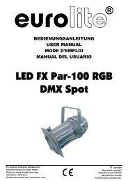 EUROLITE LED FX PAR-100 RGB DMX Spot User Manual - ELV