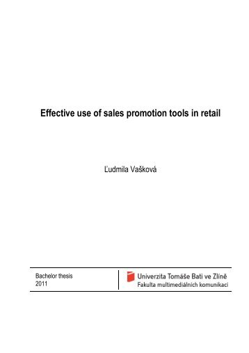 Effective use of sales promotion tools in retail - Dspace UTB